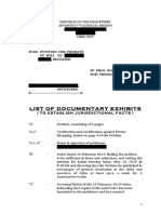 Sample - List of Documentary Exhibits (for Jurisdictional Facts)