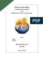 KARYA ILMIAH - Global Warming Sampah