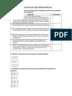 Cuestionario de Matemáticas 4to Parcial