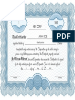 Stock Certificate Template