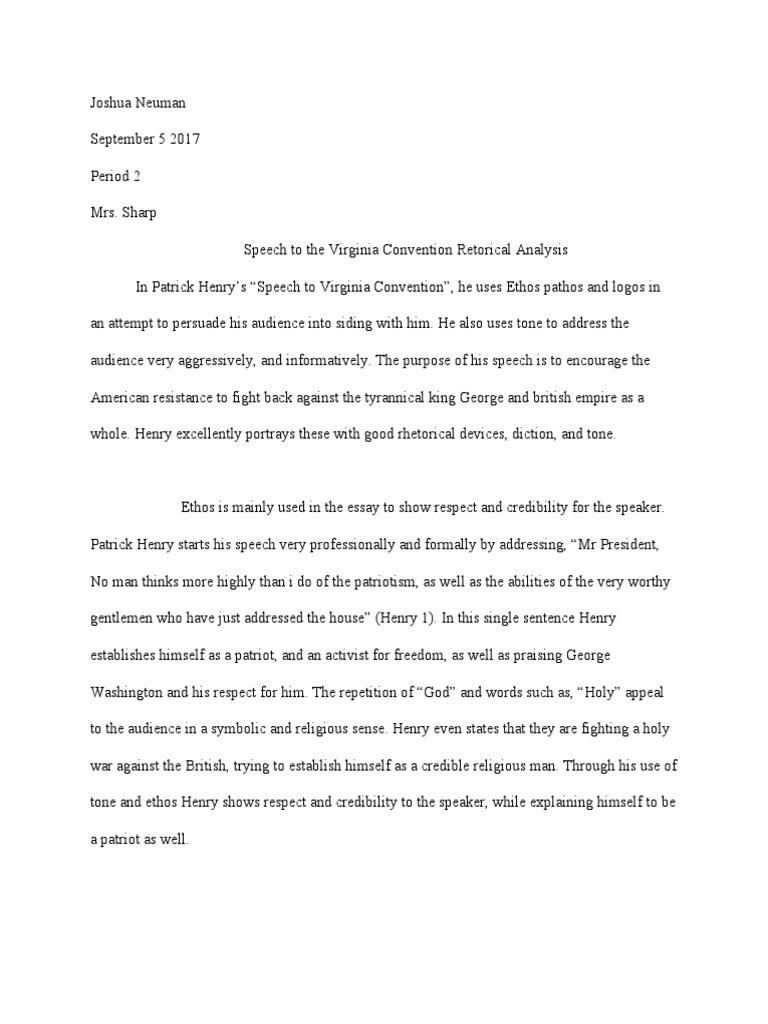 speech in the virginia convention essays