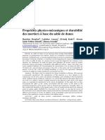 Propriétés Physico-mécaniques Et Durabilité