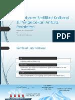 Membaca Sertifikat Kalibrasi & Pengecekan Antara Peralatan