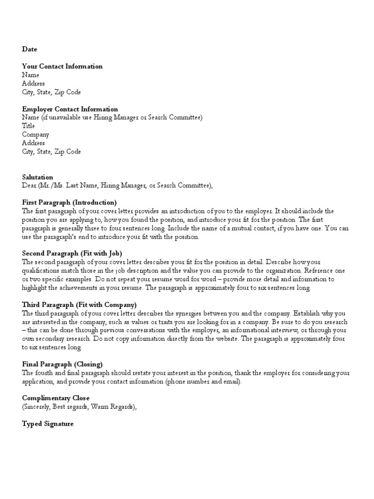 Cover Letter Template Pdf