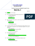 Human Resource Management - MGT501 Fall 2006 Quiz 01 Solution.doc