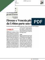 Firenze e Venezia più vicine, da Urbino parte uno shuttle - Il Corriere Adriatico del 20 maggio 2019