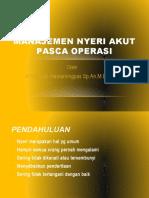 Manajemen Nyeri Akut Pasca Operasi