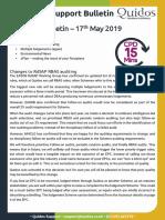 Quidos Technical Bulletin - 17/05/2019