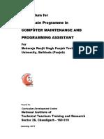 MRSPTU Curriculum for One-Year Certificate Programme in Computer Maintenanc