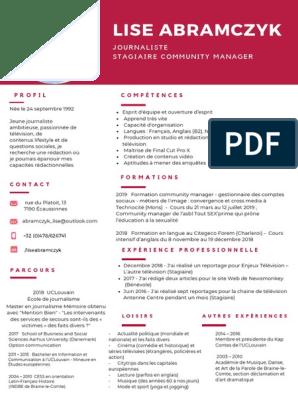 Curriculum Vitae De Lise Abramczyk 1 Croissance Personnelle