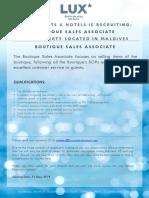LSAA Job Poster Advert Boutique Sales Associate