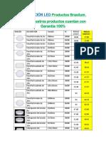Lista de Precios Iluminacion Led Brasilum y Sica-sin Factura