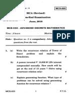 Qpaper - Ignou -June 2018 - Maths Adv