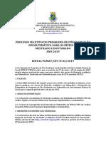 Edital Pgmat 2019 02-Seleçao 20192 Mestrado e Doutorado