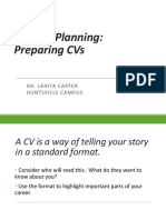 Planning and preparing CVs