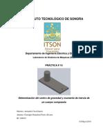 Práctica No. 10 Determinación del centro de masa y momento de inercia