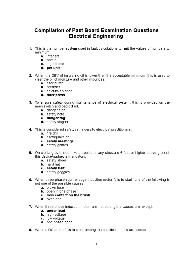 Compilation of Recent Board Examination Questions | Electric Motor
