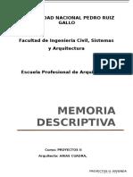 Memoria Descriptiva -Arquitectura