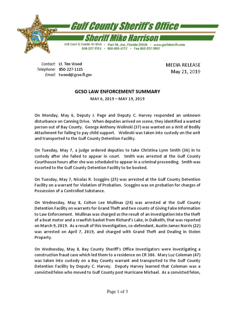 GULF COUNTY SHERIFF'S OFFICE LAW ENFORCEMENT SUMMARY MAY 6, 2019
