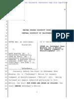 Kao v. Snow Monster - Order Denying SJ of Noninfringement