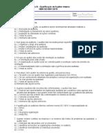 EX.afv.18.01 - Exercício III - Qualificação de Auditor Interno - NBR ISO 9001-2015