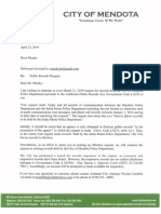 City of Mendota response to March 21, 2019 public records request on SMPD communications
