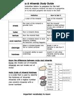 rocks   minerals test study guide