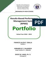 For RPMS Portfolio T1-T3