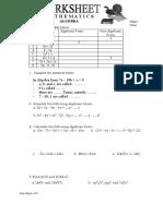 Worksheet Algebra