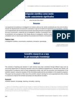 La Investigación Científica Como Medio Para Adquirir Conocimiento Significativo