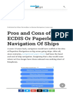 Pros and Cons of ECDIS or Paperless Navigation of Ships