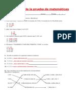 Corrección de la prueba de matemáticas