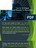 Tips for Writing a Good Resume for Recruiters