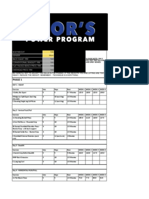 Thors Power Program Load Calculator Microsoft Excel Gsheet Recreation Physical Exercise