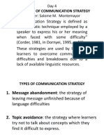 Day 4- Types of Communicative Strategy