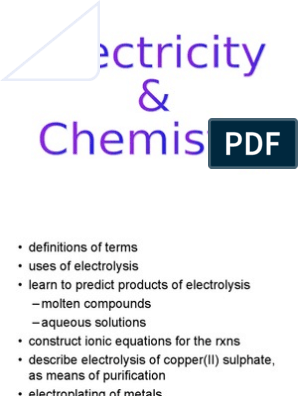 Electrolysis Ppt | Anode | Electrolyte