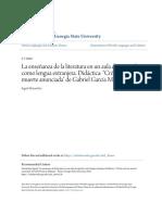 La Enseñanza de La Literatura en Un Aula de Español Como Lengua e