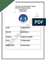 Assignment of Pakistan Studies