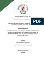 Análisis de Riesgo en la Piladora Mil Arroz, para determinar el nivel de accidentabilidad de la normativa Ecuatoriana de Seguridad Industrial, en el cantón san Jacinto de Yaguachi, provincia del Guayas..pdf