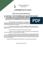 Nota Informativa Nº 74-2019