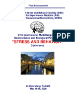 "Conference Announcement - 27th International ""STRESS AND BEHAVIOR"" Neuroscience and Biopsychiatry Conference, St-Petersburg, Russia (May 16-19, 2020)"