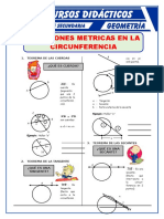 Ejercicios de Relaciones Métricas de Las Circunferencias Para Quinto de Secundaria