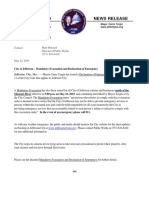 COJ Mandatory Evacuation and Declaration of Emergency Press Release 2019