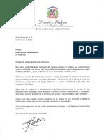 Carta de condolencias del presidente Danilo Medina a Icelsa García viuda Medrano por fallecimiento de su esposo, el empresario radial Heriberto Medrano