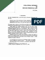 Unilateral Divorce in Muslim Personal Law