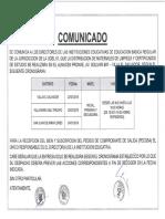 Comunicado Distribucion de Materiales de Limpieza y Certificados de Estudio 18-01-19