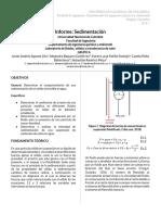 Informe sedimentación de carbonato de calcio y arrastre