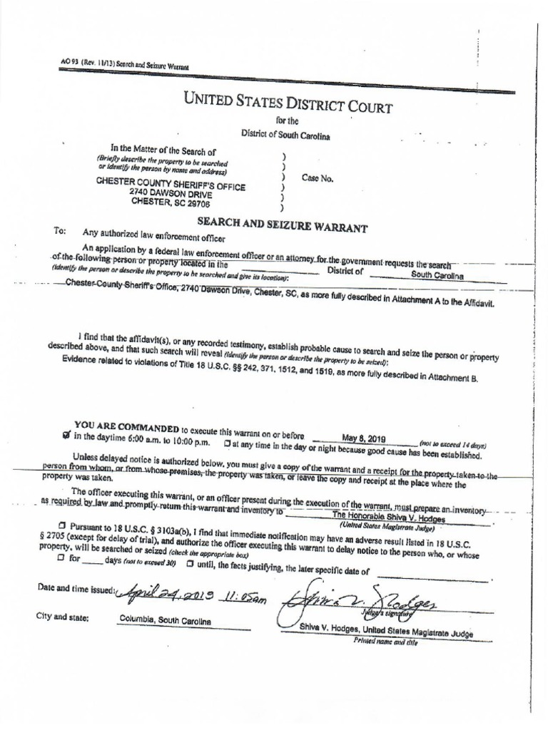 Chesterfield Sheriff FBI Search Warrant