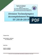 Division Technolympics 2018 Accomplishment Report