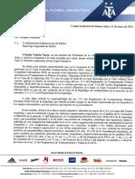 Nota AFA x clasificación Tigre a torneos Conmebol 2020